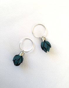 Wild Flower Bud Earrings-Dark Teal in your choice of Earring fitting and colour