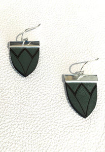 Magnolia Shield Earrings-Khaki Green