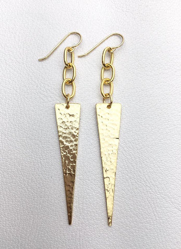 Hammered Triangle Spear Earrings