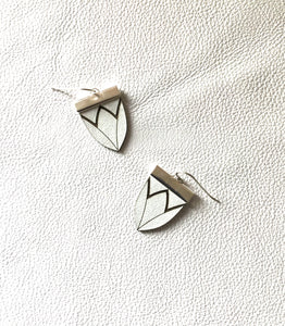 Magnolia Shield Earrings-White