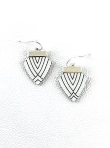 Deco Shield Earrings-White