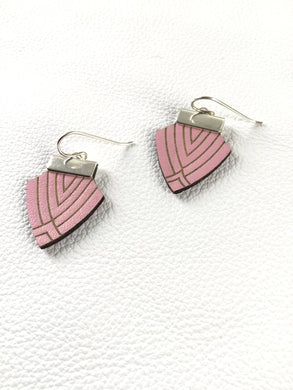 Deco Shield Earrings-Bubblegum Pink