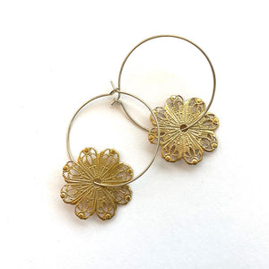 Vintage Filigree Rounds on Hoops