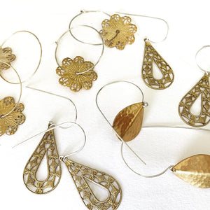 Hammered Petal on Ear Wires- PRE ORDER