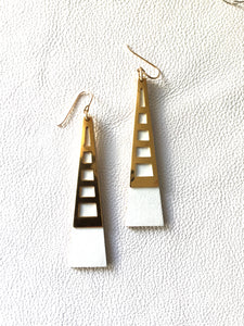 Tower Earrings -White open work Version
