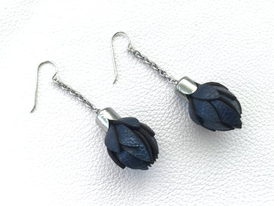 Wild Flower Bud Earrings - Navy Blue-in your choice of style