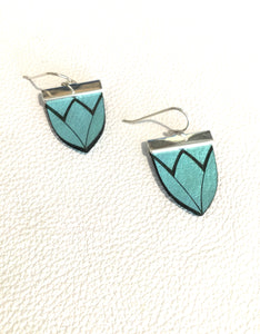 Magnolia Shield Earrings-Robins Egg Mint
