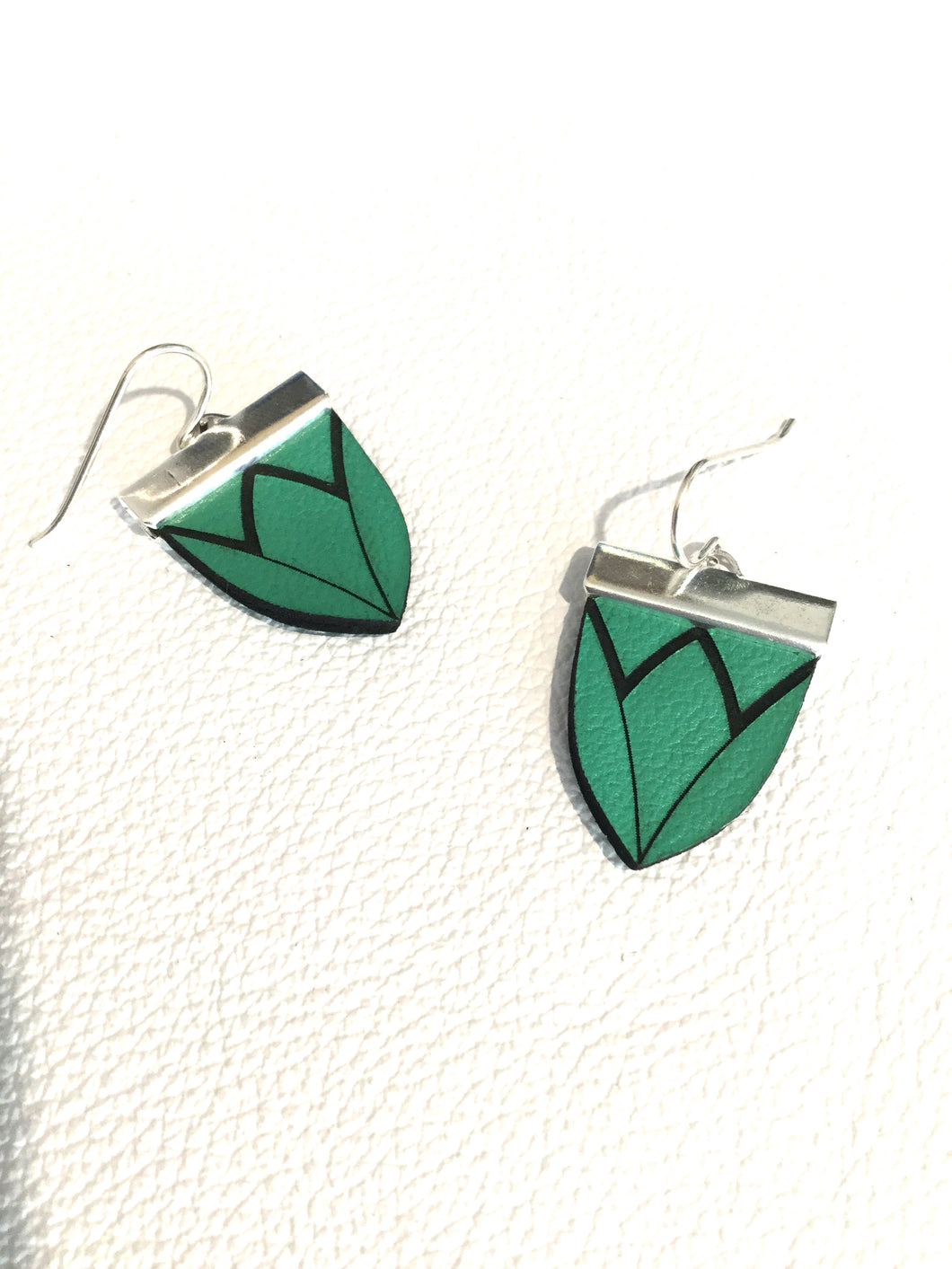 Magnolia Shield Earrings-Emerald Green