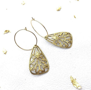 Filigree petal drop earrings nz made metallic finish