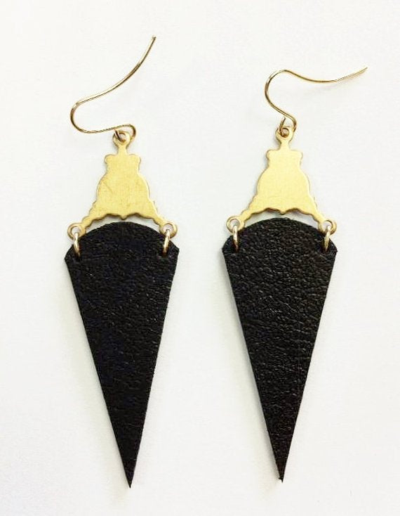Black rain drop, vintage inspired earrings, NZ Made, hand made gift