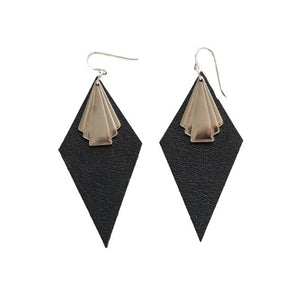 Black Diamond Shape Earrings NZ Made
