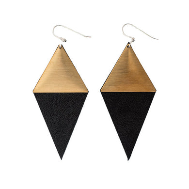 Diamond Amour earrings in black leather with brass detailing and silver hooks.