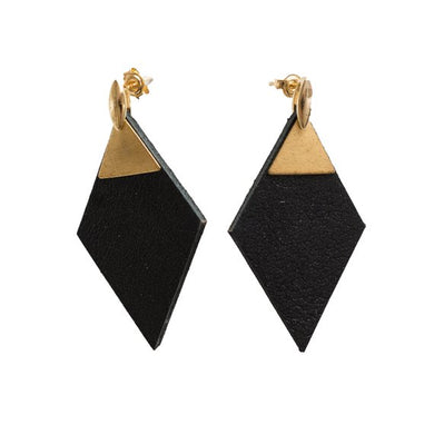 Diamond shape leather earrings with brass findings and silver or gold plated studs