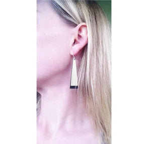 brass and black earrings nz made