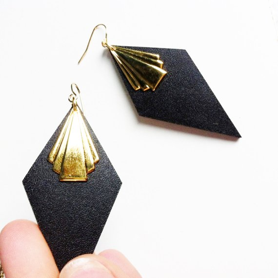 Black Leather Art Deco fan earrings with gold finish