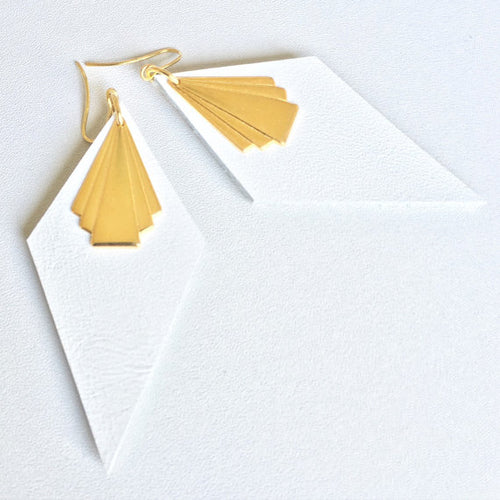 Diamond fan earrings large white leather and gold finish