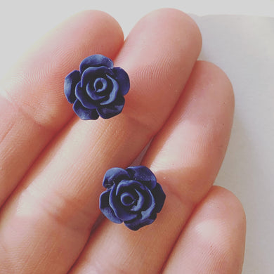 Matte Navy Blue Rose Bud Studs