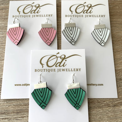 Deco Shield Earrings-Emerald Green