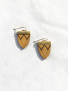 Magnolia Shield Earrings-Mustard