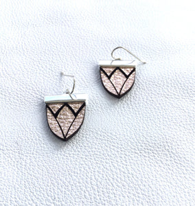Magnolia Shield Earrings-Rose Gold