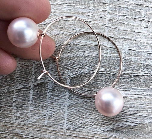 Blush Pink Pearl Hoops
