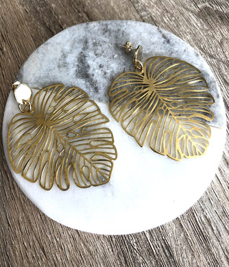Gold Plated Monstera Leaf Studs