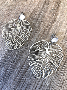 SIlver Monstera Leaf Studs