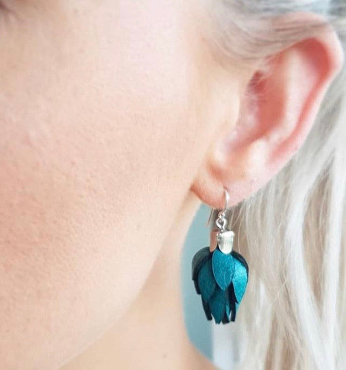 Wild Flower Bud Earrings-Dark Teal in your choice of Earring fitting and colour PRE ORDER