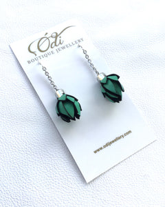 Wild Flower Bud Hoops - Emerald