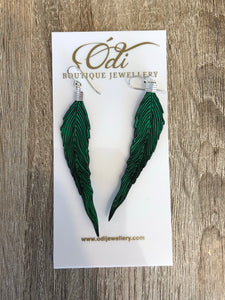 Feather Earrings- Parrot Green