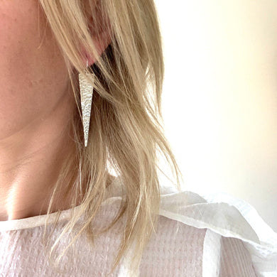 Hammered Triangle Spear Earrings- Three Colours to choose from