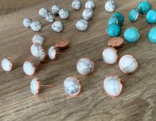 Howlite Moon Studs- Available in 3 colours