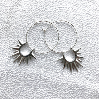 Solar Spike Hoops- Your choice of colour and size
