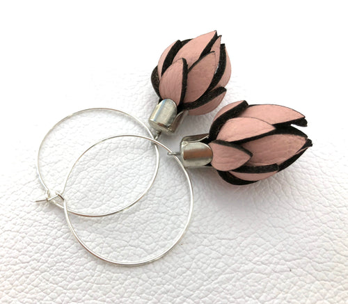 leather flower bud on hoop