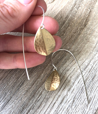 Hammered Petal on Handcrafted Ear Wires
