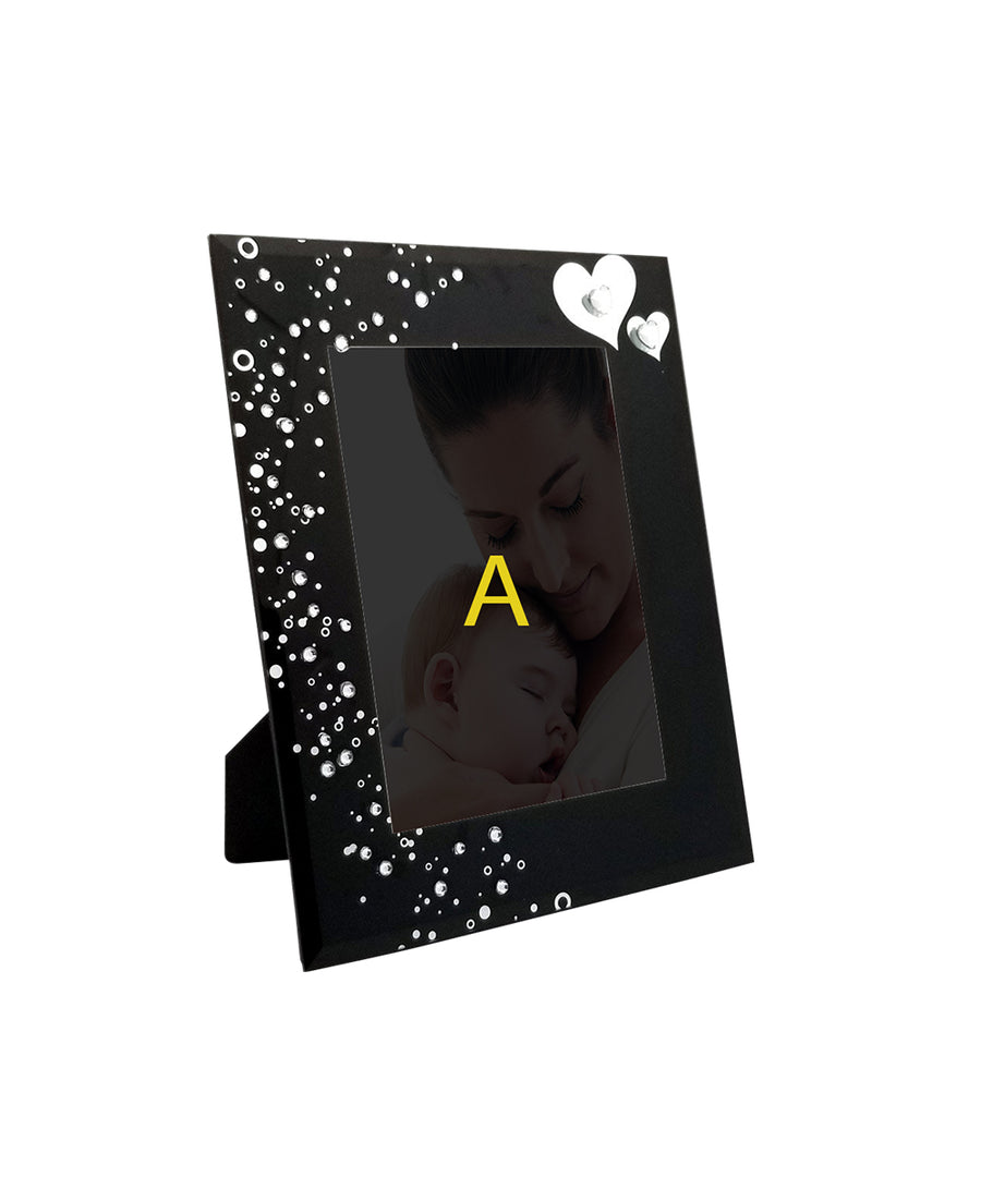 Black Floral Glass Photo Frame for Mother