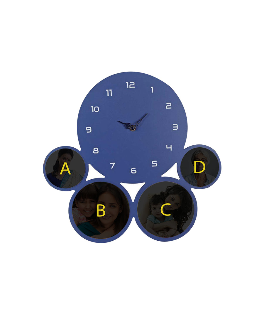 Elegant Personalize Blue Wall Clock for Mother