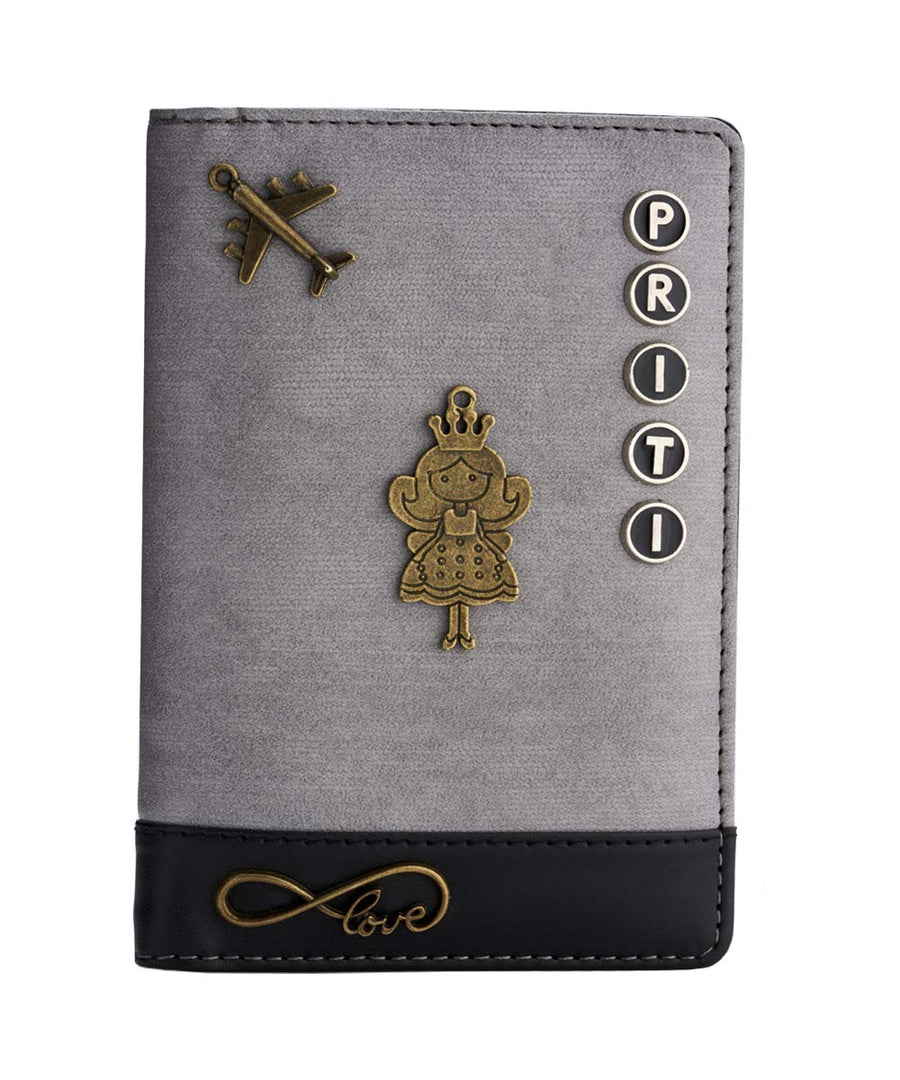 Grey Black Passport Cover