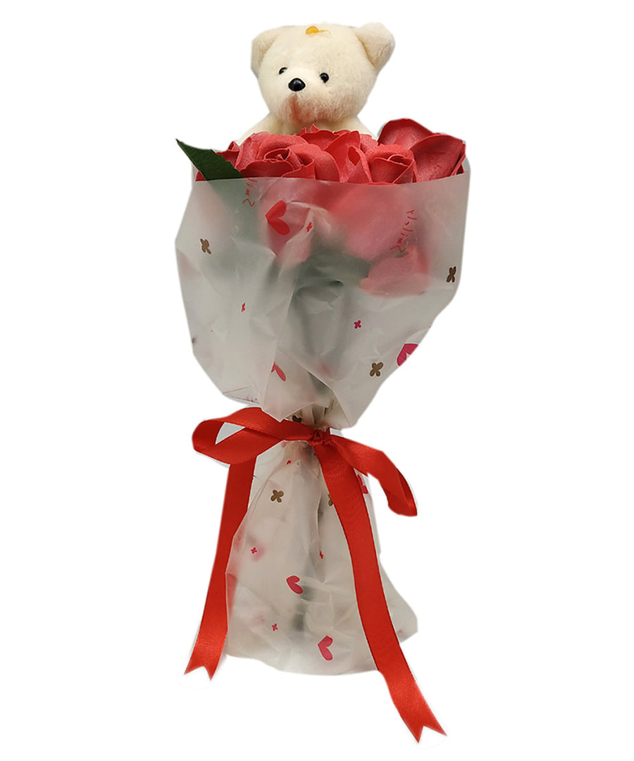 Teddy Bear With 7 Red Roses
