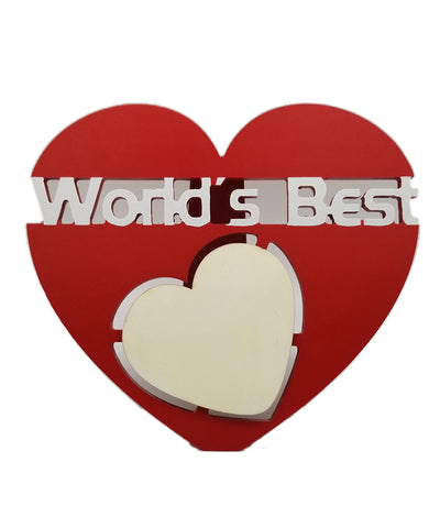 Personalized Heart Shape World'S Best Table Photo Frame