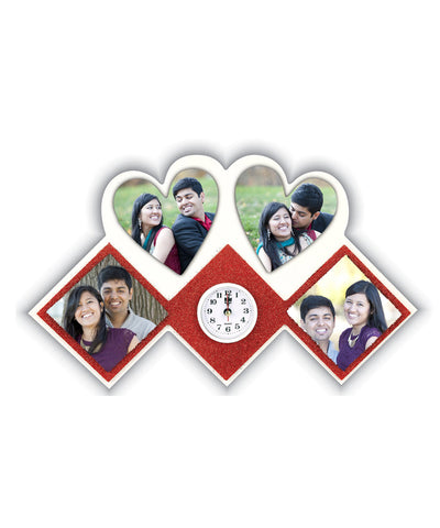 Stylish 4 Photo Magnetic Wall Clock