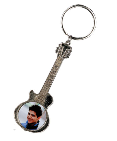 Personalized Guitar Shape Metal Keychain