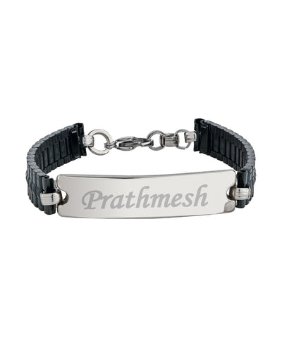 Black Steel Name Engraved Men's Bracelet