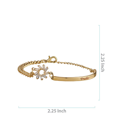 Gold Name Engraved Ladies Bracelet