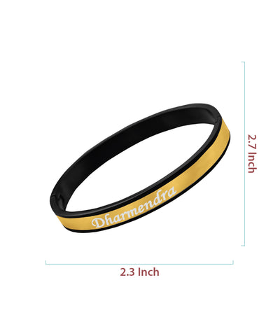 Black and Gold Name Engraved Men's Bracelet