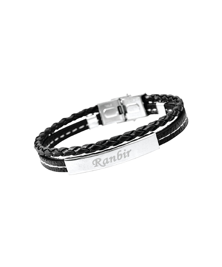 Black Rope Style Name Engraved Men's Bracelet
