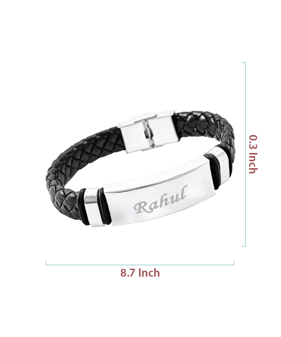 Black Name Engraved Men's Bracelet