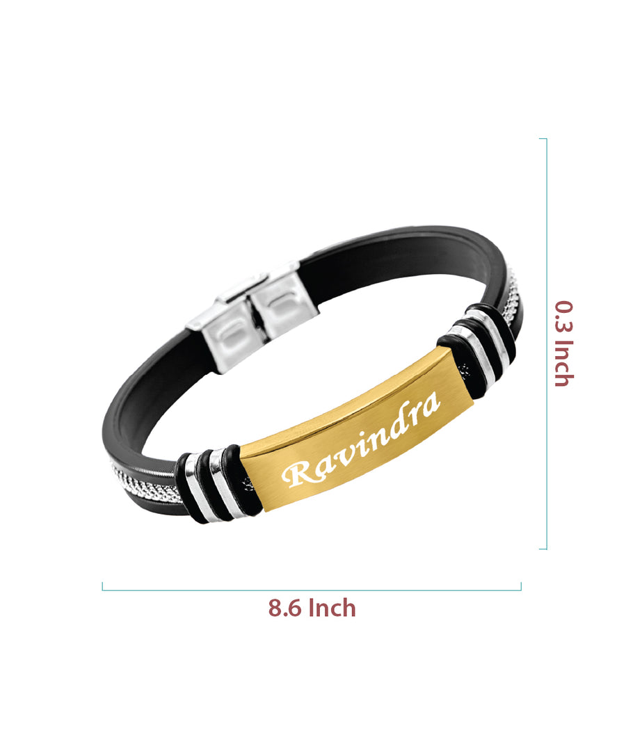 Golden Personalised Engraved Bracelet