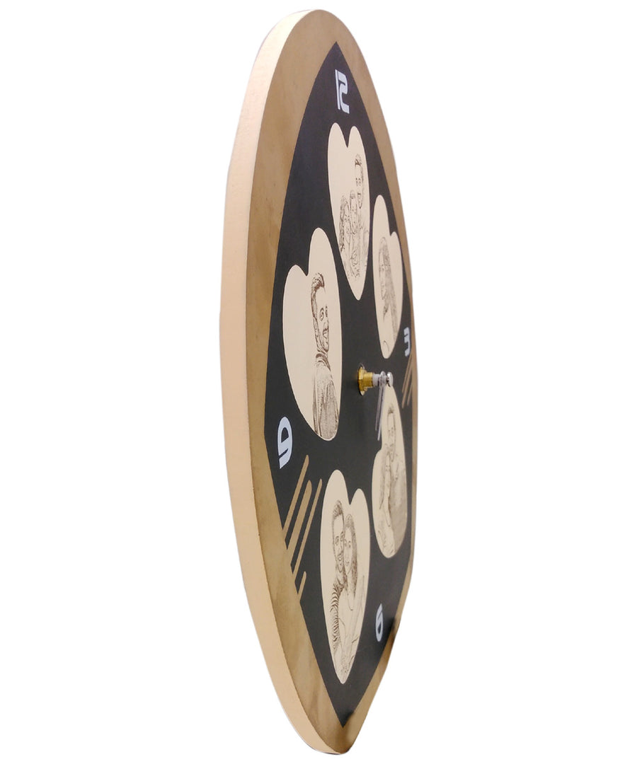 Engraved Wooden Wall Clock