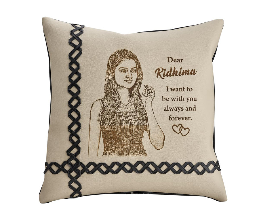 Engraved Leather Pillow